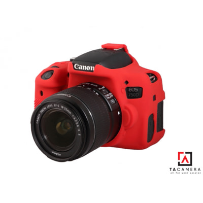 Vỏ cao su - Cover máy ảnh Canon 750D - Màu Đỏ