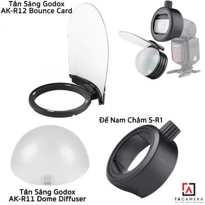 Combo Tản Sáng Godox AK-R12 Bounce Card + AK-R11 Dome Diffuser + Đế Nam Châm S-R1
