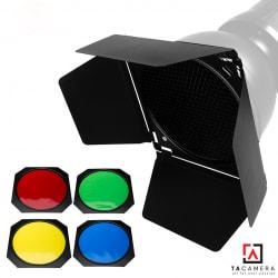 Bộ barndoor, honeycom, 4 filter màu