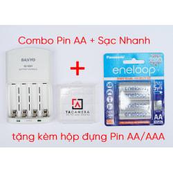 Combo Pin AA Eneloop Trắng + Sạc Nhanh