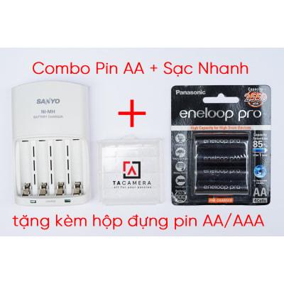 Combo Pin AA Eneloop Đen + Sạc Nhanh