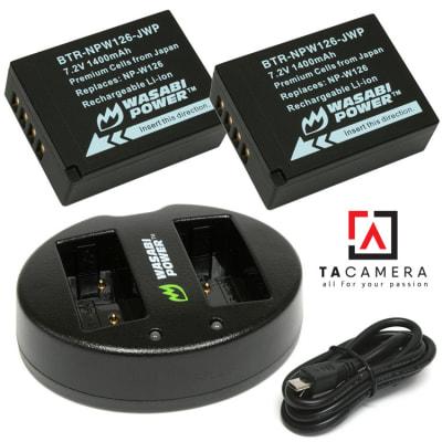 Pin - Sạc Đôi Wasabi Cổng USB Cho Fujifilm NP-W126 1400mAh
