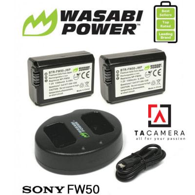 Pin - Sạc Đôi Wasabi Cổng USB Cho Sony FW50 1300mAh