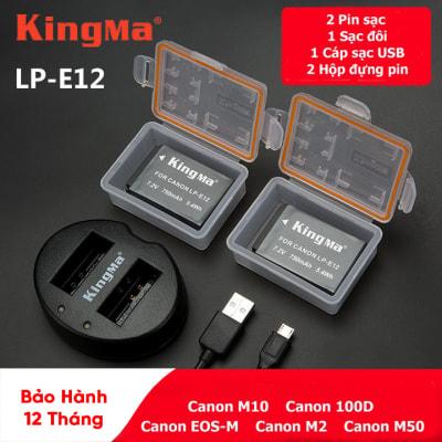 Pin - Sạc Đôi KingMa Cổng USB Cho Canon LP-E12 750mAh