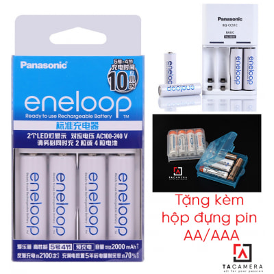Combo 4 pin + sạc Eneloop Panasonic BQ-CC51C