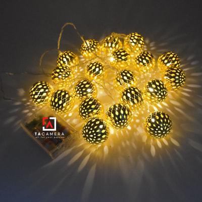 Dây Đèn LED Trái Châu - Size 4m - 40 trái - 40 LED - Nguồn Pin AA USB DC 12V