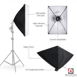 Bộ Kit E27 Kèm Softbox 60x90cm Chuyên Dụng Để Chụp Sản Phẩm