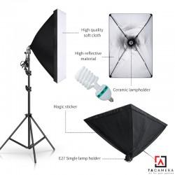 Bộ Kit E27 Kèm Softbox 50x70cm + Chân Đèn 2,4m (chân nhỏ) + Bóng Đèn 85W