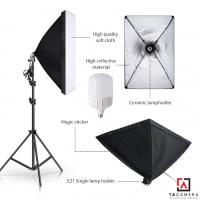 Bộ Kit E27 Kèm Softbox 50x70cm + Chân Đèn 2,4m (chân nhỏ) + Bóng Đèn LED Siêu Sáng 50W