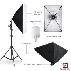 Bộ Kit E27 Kèm Softbox 60x90cm + Chân Đèn 2,4m (chân nhỏ) + Bóng Đèn LED Siêu Sáng 50W